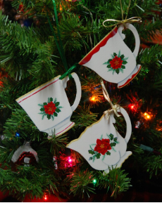 HAND-PAINTED TEACUP KEEPSAKE ORNAMENT