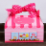 Attractive 'The Tea Shop Box Sampler' gift box with matching pink fabric ribbon sporting  polkadots and a scalloped edge.