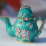 "A 'must have'  turquoise, pink and gold enameled teapot keepsake gift (3"" x 1.75"" x 2.50"")"